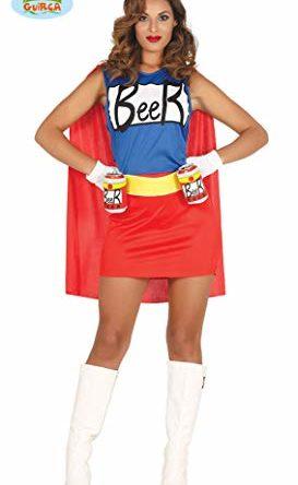 shoperama Damen-Kostüm Simpsons Bierfrau Kleid mit Dosenhalter-Gürtel Duff Beer Man Woman Biermann Bier-Mann Bier-Frau, Größe:S