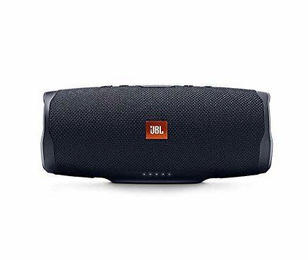 JBL Charge 4 Bluetooth-Lautsprecher – Wasserfeste, portable Boombox mit integrierter Powerbank – Schwarz