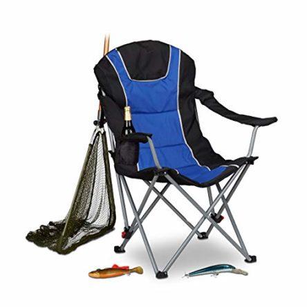 Relaxdays Campingstuhl faltbar, gepolsterte Lehne verstellbar, klappbar, blau-schwarz