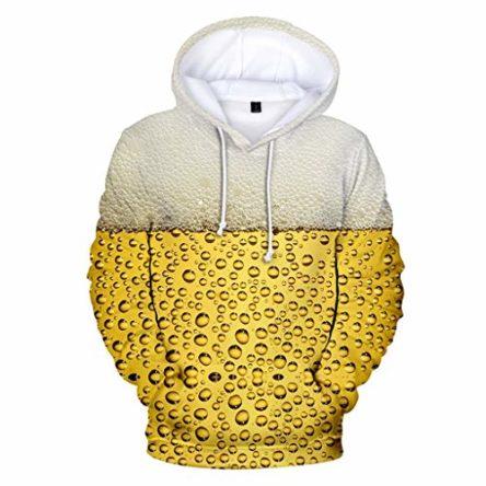 Wulishe Herren Bierfest 3D Druck Pullover mit Kapuze Kapuzensweater Langarmshirts Festival Hoodie Top Oberteil Hochwertige Männer Casual Alltag Kapuzenpullover