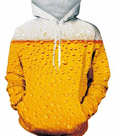 Freshhoodies Unisex 3D Bier Hoodie Gelb Herren Damen Kapuzenpullover Langarm Drawstring Bier Festival Pullover Sweatshirt mit Tasche XL