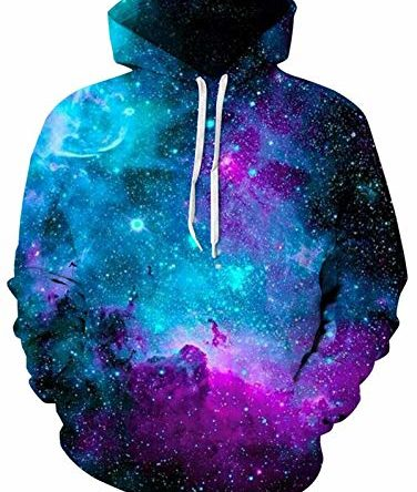 ALISISTER KapuzenpulloverHerren Damen 3D Lustig Galaxis Druck Hoodies Pullover Teens Beiläufig Langarm Festival Party Hooded Sweatshirts mit Taschen S