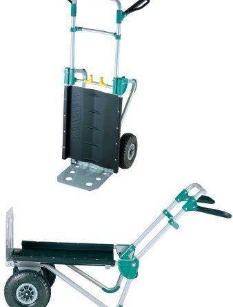Wolfcraft TS 1000 Transportsystem / 2in1 Sackkarre & Schubkarre für Lasten bis 200 kg / Klappbarer Transportkarren für Festivals
