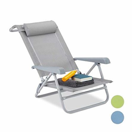 Relaxdays Liegestuhl klappbar, Nackenkissen, Flaschenöffner, 8-Stufig verstellbar, bis 120 Kg, Kunststoff, Stahl, Grau