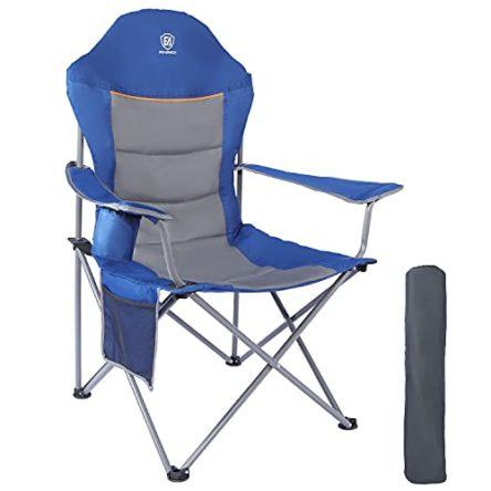 EVER ADVANCED Klappstuhl Campingstuhl Angelnstuhl faltbar hoher Rücken mit Getränkehalter Seitentasche Übergröße belastbar 136kg blau